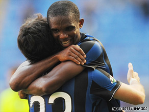 Milito (left) and Eto'o scored the goals that gave Inter a 2-0 victory over Parma on Sunday.
