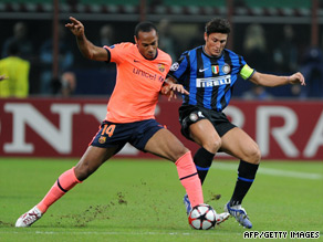Thierry Henry (left) finds no way past Javier Zanetti as Inter Milan and Barcelona cancel each other out.