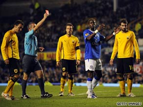 Saha protests his innocence after being shown the red card at Goodison Park.