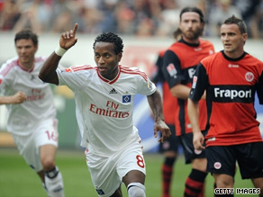 Ze Roberto celebrates after putting Hamburg into an early lead against Eintracht Frankfurt.