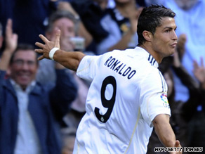 Cristiano Ronaldo wheels away after scoring within the first minute for Real Madrid against Xerez.