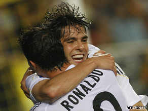 Real goalscorers Kaka and Ronaldo celebrate their latest victory at Villarreal.