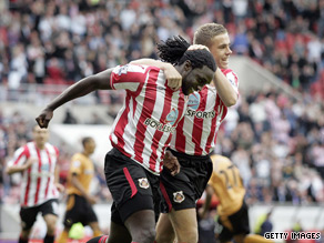 Kenwyne Jones celebrates his first goal in Sunderland's 5-2 victory.