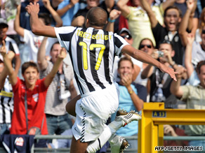 David Trezeguet celebrates his goal but Juventus were eventually held to a 1-1 draw by Bologna.