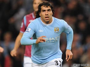 Carlos Tevez netted twice to lift Manchester City up to fifth place in the Premier League table.