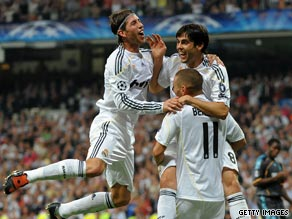 Real Madrid joy is unconfined after Kaka's second goal in the Bernabeu.