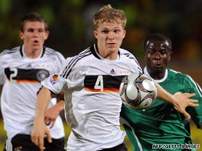 Germany's Florian Jungwirth challenges for the ball during the thrilling 3-2 victory over Nigeria in Suez.
