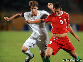 Krisztian Nemeth (right) scored two goals in extra time to see Hungary through in a dramatic quaterfinal.