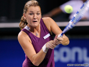 12th seed Radwanska is through to the Beijing semis after defeating Elena Dementieva in straight sets.
