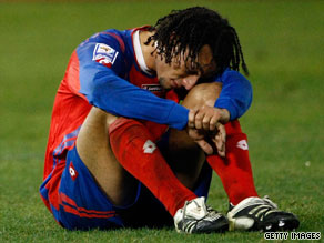 Costa Rica's Michael Barrantes was left dejected after the U.S. snatched a late equalizer in Washington.