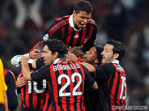 AC Milan celebrate their late winner as they defeated Real Madrid 3-2 in a Bernabeu classic.