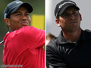 "Woods (left) is facing a challenge for his top spot from Sergio ""El Nino"" Garcia (right)."
