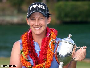 Stanford celebrates her third victory in her last seven tournaments at Turtle Bay.