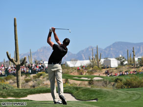 Paul Casey plays an approach shot on the second hole during the final round Sunday.