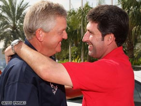Montgomerie (left) and Olazabal have been friends and rivals since first facing each other 25 years ago.