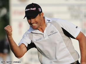 Harrington pumps his fist as he sinks a putt to win the 2008 U.S. PGA Championship at Oakland Hills.