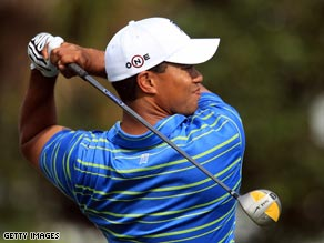 Tiger tees off on the 15th at Bay Hill as he bids for a sixth win at the tournament.