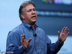 Phil Schiller, Apple's senior vice president, unveils iPhoto 09 at Macworld Tuesday.