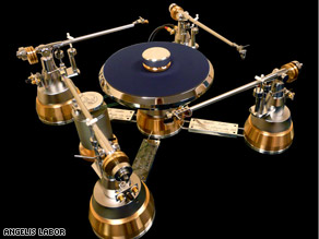 Each arm of the turntable is made in a Modena, Italy, factory that also builds Ferrari parts.
