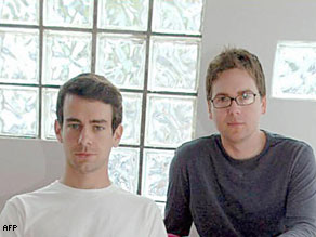 Biz Stone and Jack Dorsey co-founders of San Francisco-based Obvious, the startup behind Twitter.