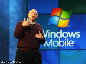 Microsoft CEO Steve Ballmer discusses his Windows Mobile offerings earlier this month at CES in Las Vegas.