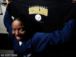 Pittsburgh Steelers fan Sheresa Coleman will watch the Super Bowl from the USS Mahan in the Gulf of Aden.