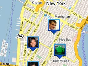 With Google's new Latitude software, cell phone users can share their locations with others.