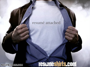 ResumeShirts.com, launching Tuesday, will allow customers to print their resumes on customized T-shirts.