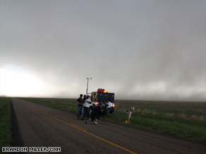 A V2 team measures a storm this week in the Texas panhandle.