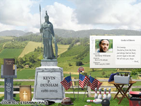 Eternal Space lets loved ones create customized online gravesites and memorial pages.