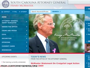 South Carolina Attorney General Henry McMaster has threatened criminal action against Craigslist.