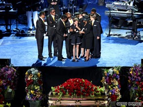 Millions worldwide watched online coverage of Michael Jackson's funeral service in Los Angeles.