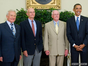 President Obama welcomes, from left, Buzz Aldrin, Michael Collins and Neil Armstrong.