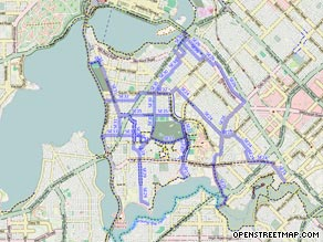 A user-edited map of cycling routes in Perth, Australia, available on OpenStreetMap's site.