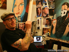 Matt Held is painting 200 Facebook photos and giving them to the subjects.
