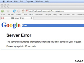 Many Gmail users encountered this error message when trying to access their e-mail Tuesday.