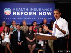 President Obama speaks during a town hall meeting on health care in August.