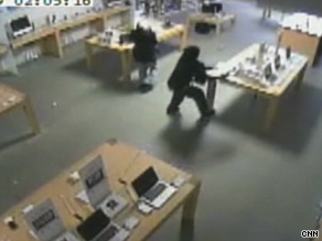 A security camera captures thieves looting an Apple store in Marlton, New Jersey.
