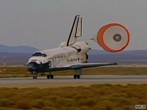 Discovery landed at Edwards Air Force Base after a 13-day mission to the international space station.