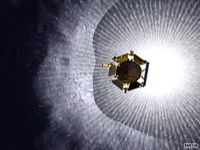 A NASA rendering of the LCROSS spacecraft entering a debris plume on its way to the moon.