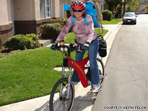 "He and his spouse Mary Felch have cut their driving in half by using ""e-bikes."""