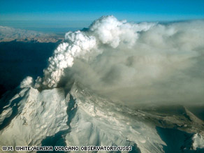 Alaska's Mount Redoubt volcano spews ash and steam during an eruption in 1989.