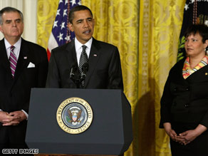 President Barack Obama with Transportation Secretary Ray LaHood and EPA Administrator Lisa Jackson.