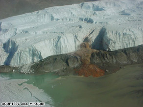 Scientists find surprising evidence of bacterial life beneath the Antarctic ice near Blood Falls, seen here.