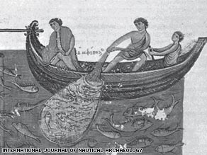 A mosaic from the 5th century in Bizerte, Tunisia, shows one of the earliest depictions of trawling.