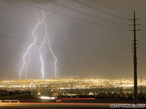 Lightning strikes Las Vegas in 2006. Already this month 11 people have been killed by lightning in the U.S.