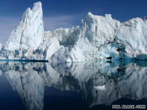 Melting world: mountainous icebergs in Greeland's Sermilik Fjord.