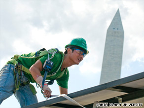 A member of Team California at a work on the Refract House for the Solar Decathlon in Washington D.C.