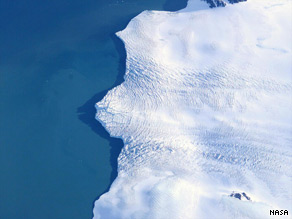 Antarctica's Larsen Ice Shelf, viewed from NASA's DC-8 aircraft in 2004, is one target of the 2009 operation.