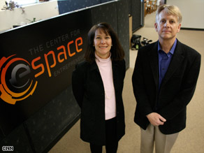 Diane Dimeff and Scott Tibbitts of eSpace, a not-for-profit that helps aerospace companies test space technology.